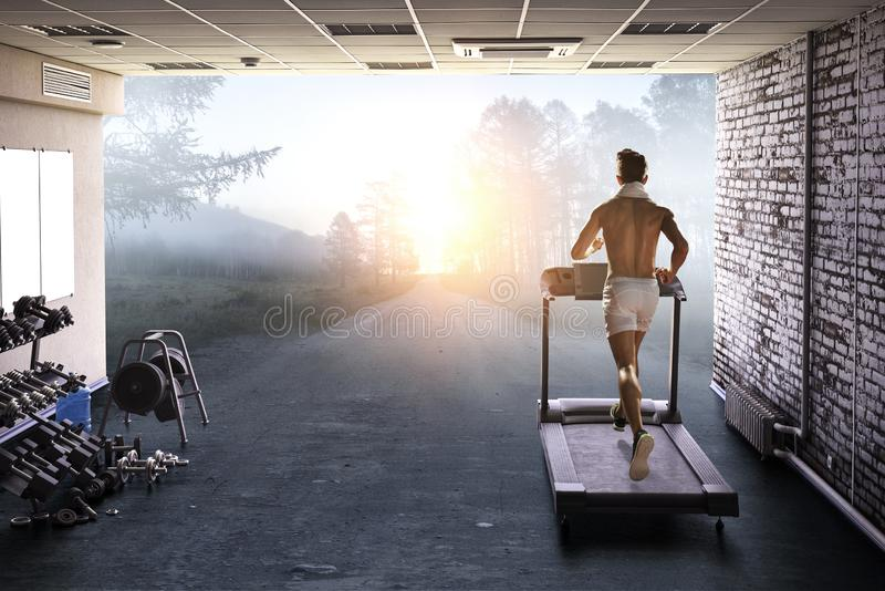 Choose your route for running. Mixed media royalty free stock image