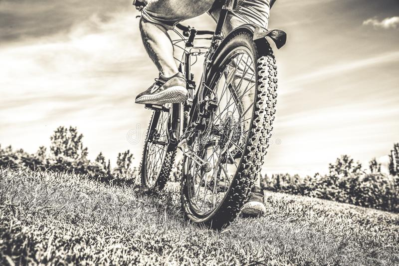 Back view of a man with a bicycle. stock image