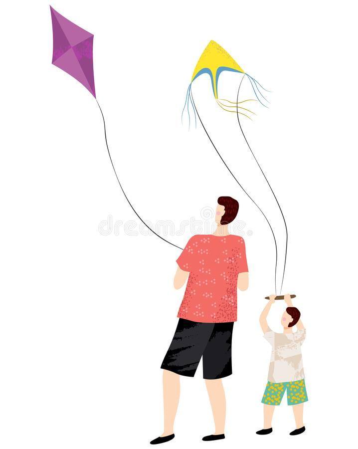 Leisure of Dad and Son Playing Kite, People Vector. Back view of man and kid boy characters holding kites, dad and son playing with flying equipment, people and royalty free illustration