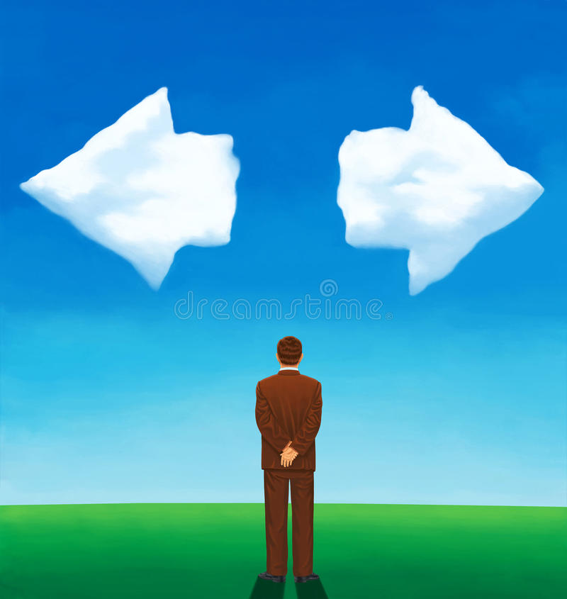 Back view of a man looking at two clouds arrow-shaped vector illustration