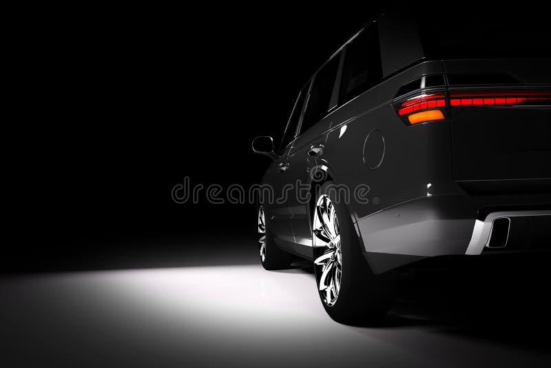 Back view of modern black SUV car in a spotlight royalty free illustration