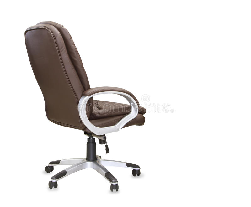 Back view of modern office chair from brown leather. royalty free stock photography