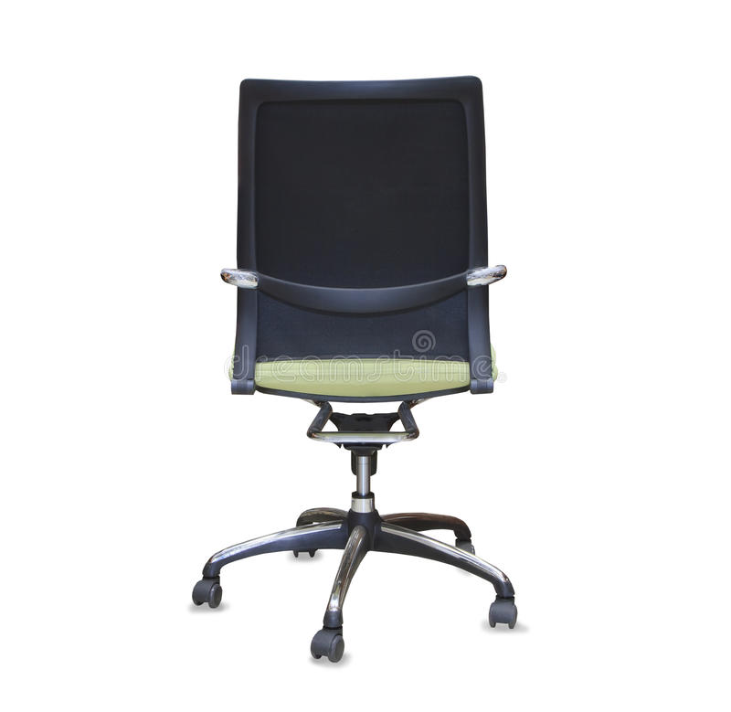 Back view of modern office chair from green cloth. Isolated stock images