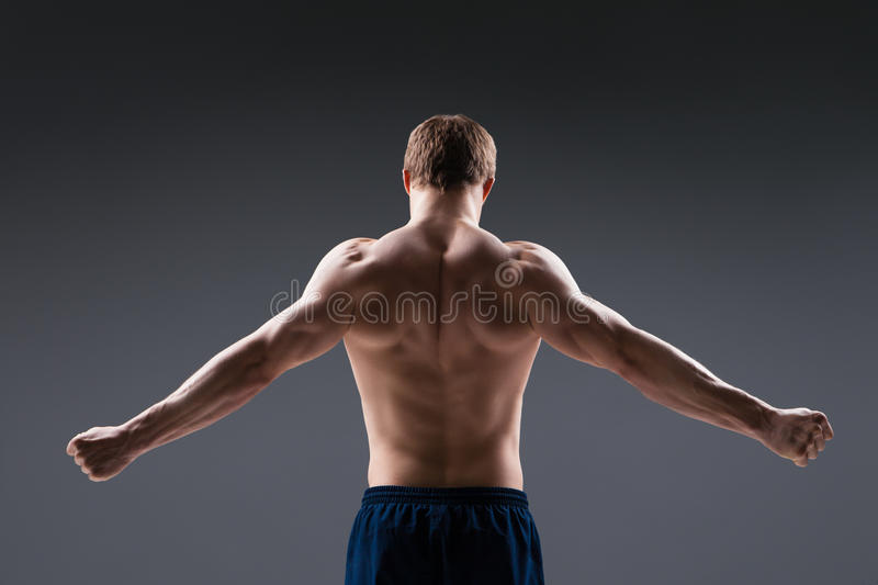 Back view of muscular young man shows the stock photography