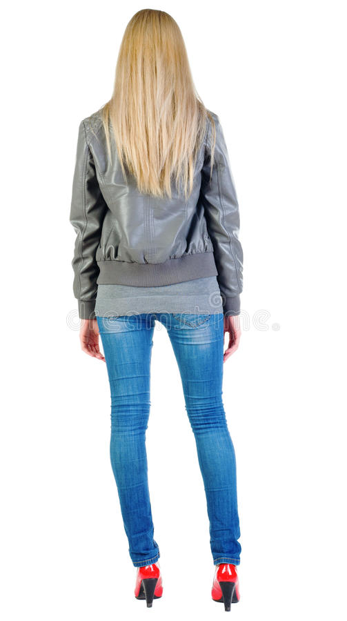 Free Back View Of Standing Beautiful Blonde Woman In Jacket Stock Photo - 24490870