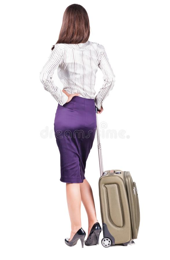 Free Back View Of Stylishly Dressed Brunette Business Woman With Suit Royalty Free Stock Photos - 77013968