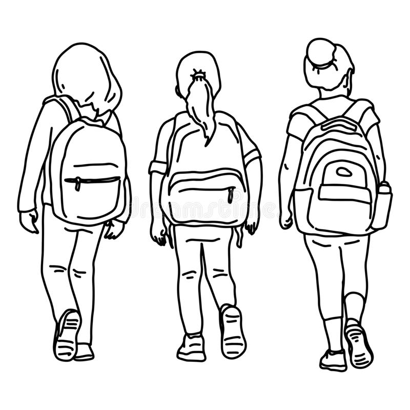Free Back View Of Three Girl Students Vector Illustration Sketch Doodle Hand Drawn With Black Lines Isolated On White Background Stock Images - 155141574