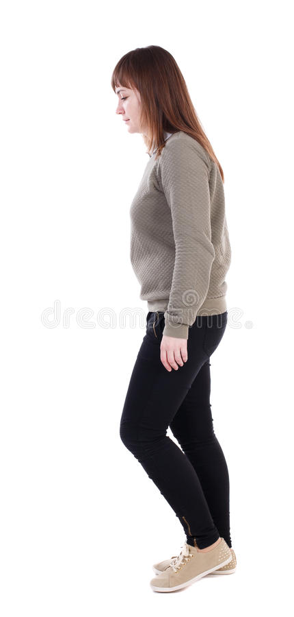 Free Back View Of Walking Woman. Beautiful Blonde Girl In Motion. Stock Photography - 75600022