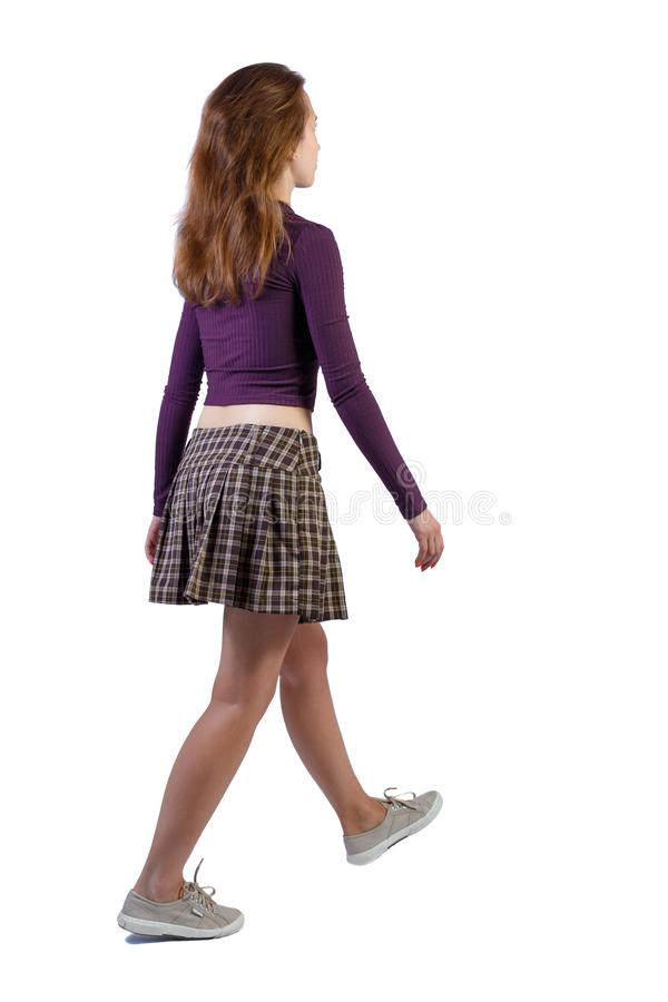 Free Back View Of Walking Woman. Beautiful Girl In Motion Royalty Free Stock Image - 154050476