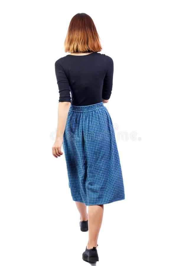 Free Back View Of Walking Woman. Beautiful Girl In Motion. Backside Stock Photo - 108726160