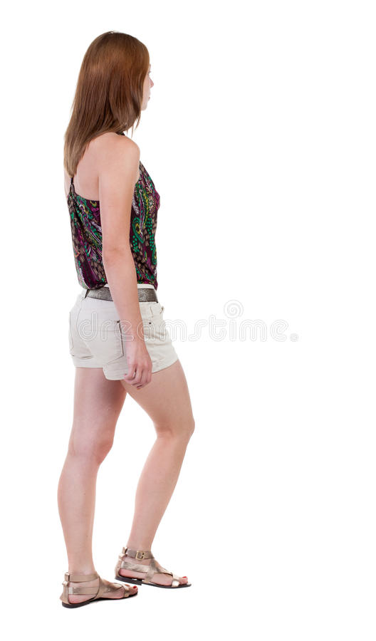Free Back View Of Walking Woman In Shorts. Beautiful Blonde Girl In Stock Photo - 44229960