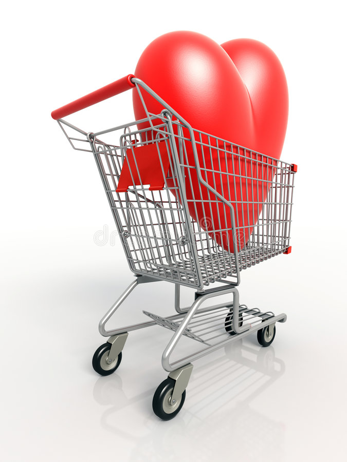 Back view of3D heart in shopping cart royalty free stock photography