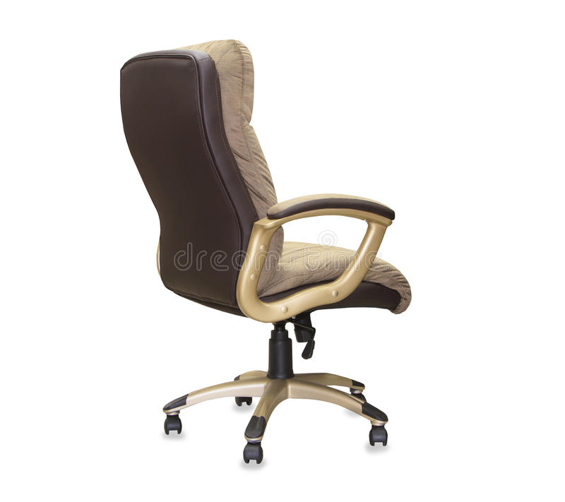 Back view of office chair from brown cloth. Isolated stock photography