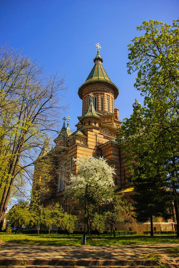 Back view of the Orthodox Metropolitan Cathedral from the nearby park in Timisoara. Timis County, Romania royalty free stock photo