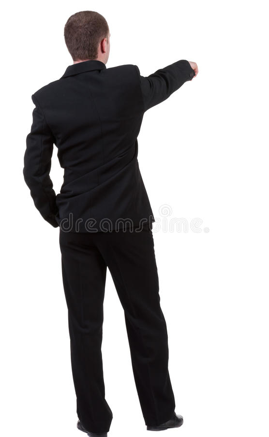 Back view of pointing business man. stock images