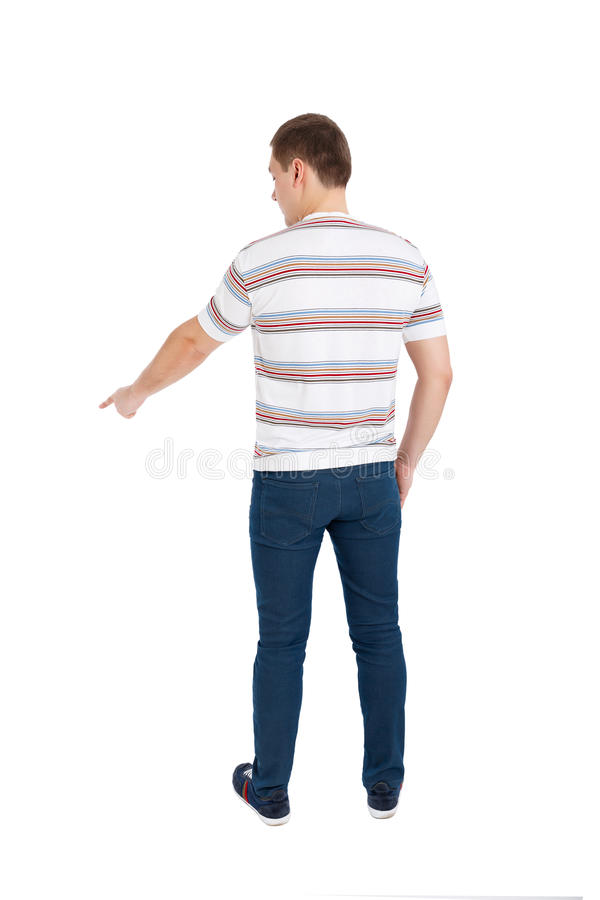 Back view of pointing young men. Rear view people collection. stock image