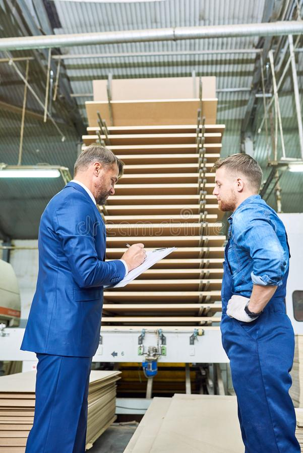 Safety Inspection at Modern Factory stock images