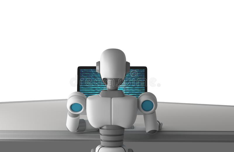 Back view of robot using a computer with binary data number code royalty free illustration