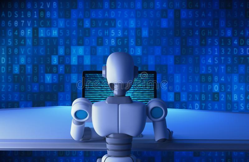 Back view of robot using a computer with binary data number code stock illustration