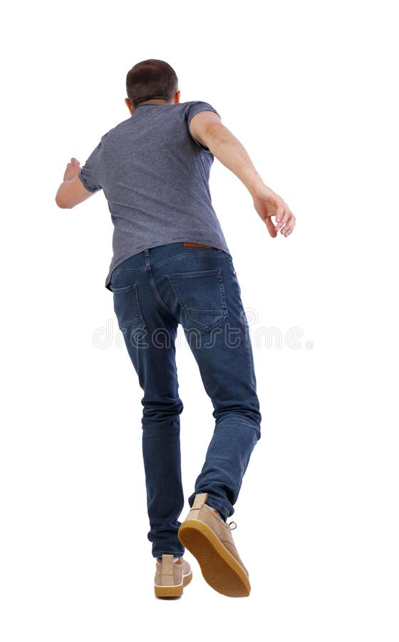 Back view of running man stock image