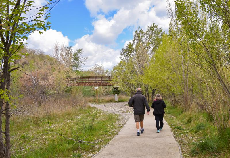 back view of a senior couple walking on a concrete way in the middle of a park. The male hiker wears sorts and a dark blue coat royalty free stock images