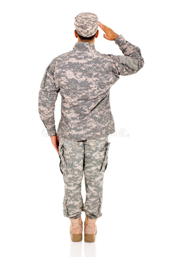 Back view soldier saluting royalty free stock photography