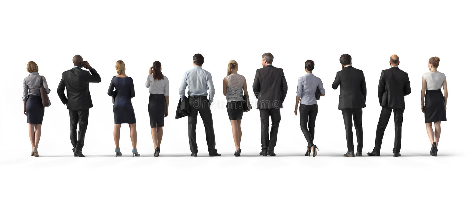 Back view of standing business people. Illustration on white background, 3d rendering isolated. royalty free illustration