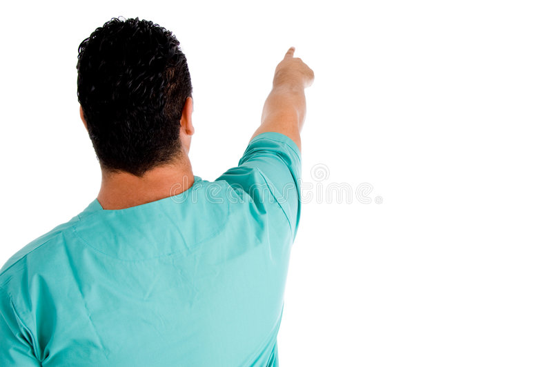 Back view of surgeon pointing royalty free stock image