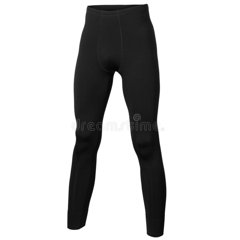 Back view of thermo active underwear pants in black color. Isolated on white background royalty free stock image
