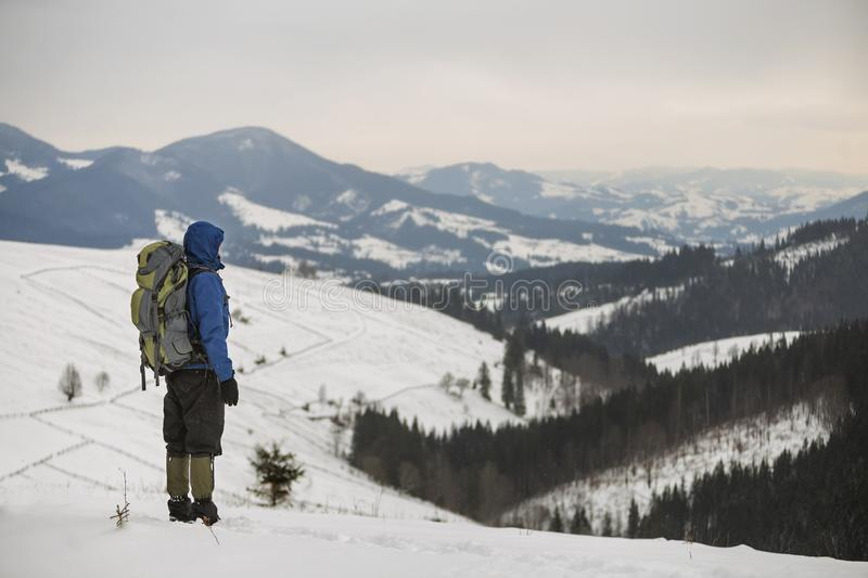 Back view of tourist hiker in warm clothing with backpack standing on mountain clearing on copy space background of woody mountain. Ridge and cloudy sky royalty free stock image
