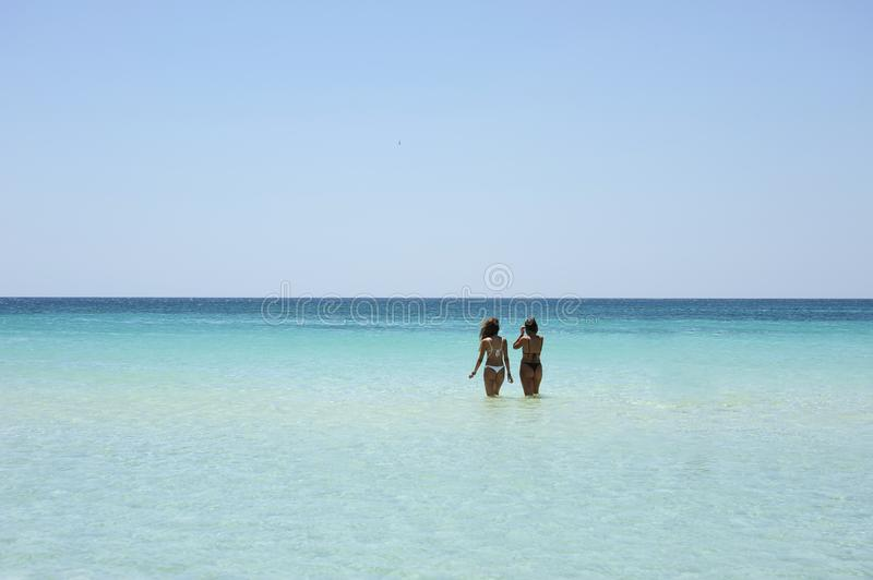 Back view of two beautiful friendly women bathing in the clear sea against a sunny sky.Vacation concept royalty free stock photography