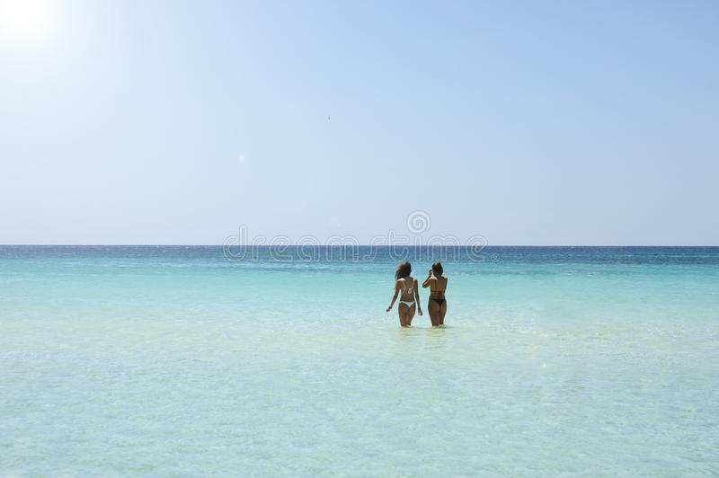 Back view of two beautiful friendly women bathing in the clear sea against a sunny sky.Vacation concept stock image