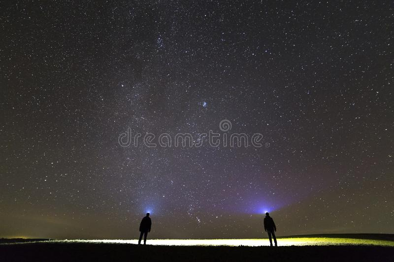 Back view of two men with head flashlights on green grassy field under dark blue summer starry sky. royalty free stock photography