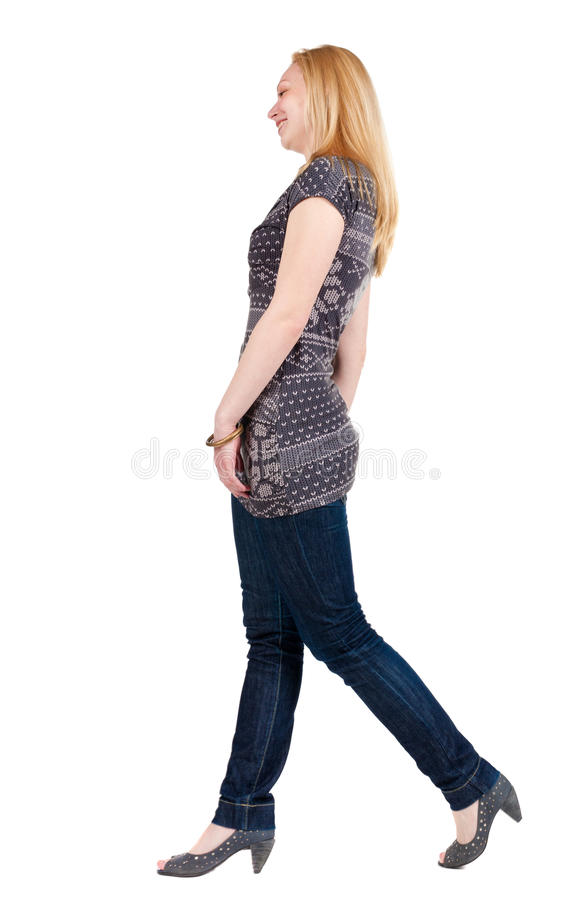Download Back View Of Walking Woman . Stock Image - Image: 26423755