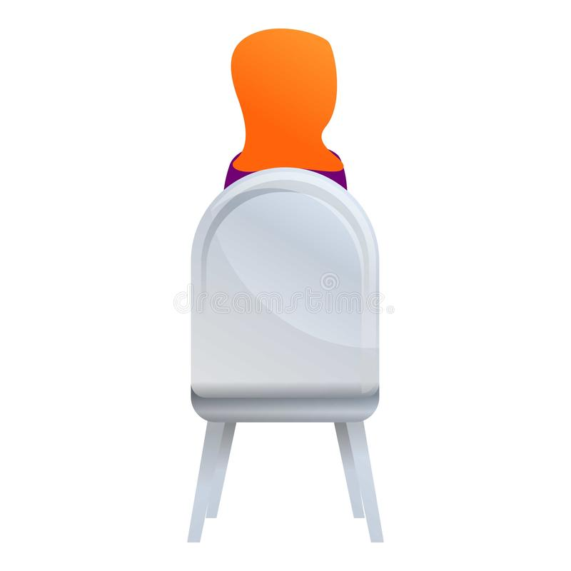 Back view woman on chair icon, cartoon style royalty free illustration