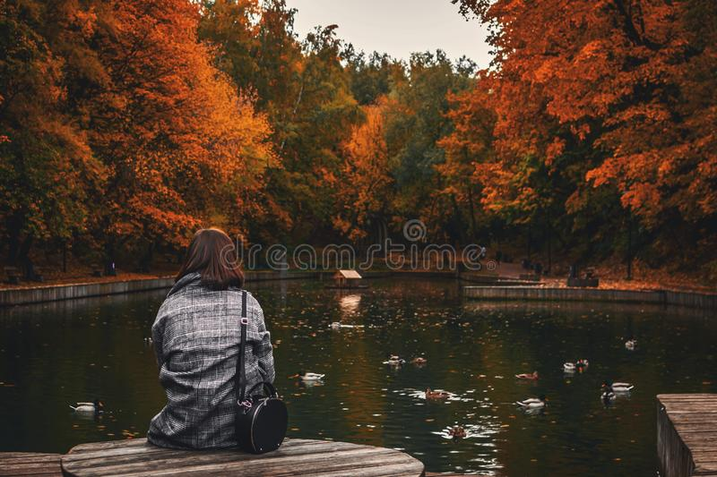 Back View Of Woman Sitting On Old Wooden Pier Over Calm Pond In The Park. Free Public Domain Cc0 Image