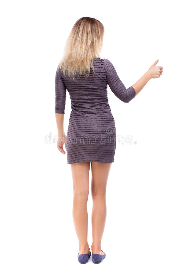 Back view of woman thumbs up. Rear people collection. backside person. Back view of woman thumbs up. Rear view people collection. backside view of person stock photos