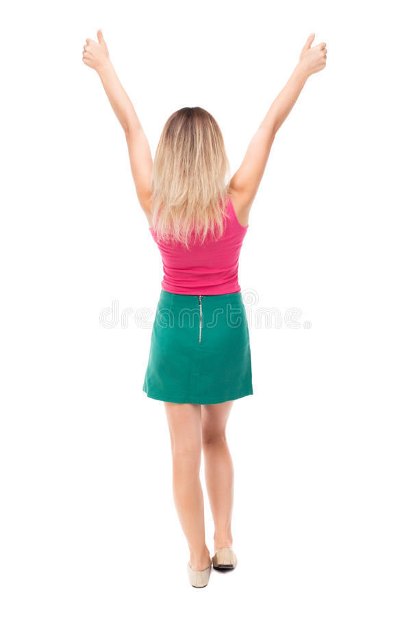 Back view of woman thumbs up. Rear people collection. backside person. Back view of woman thumbs up. Rear view people collection. backside view of person stock photography