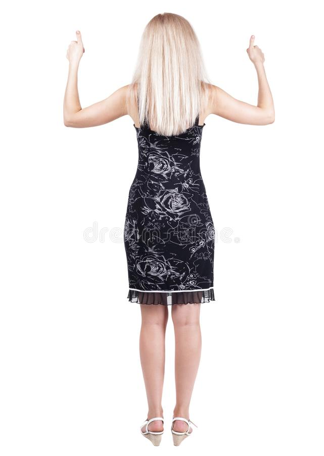 Back view of woman thumbs up. Rear view people collection. backside view of person. Isolated over white background royalty free stock images