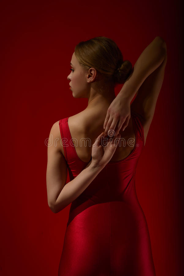 Back view of young beautiful dancer stock photos
