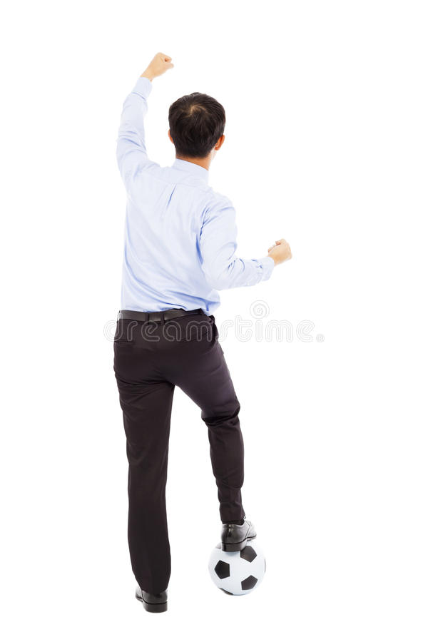 Download Back View Of Young Businessman Make A Fist To Support Stock Photo - Image: 39403828