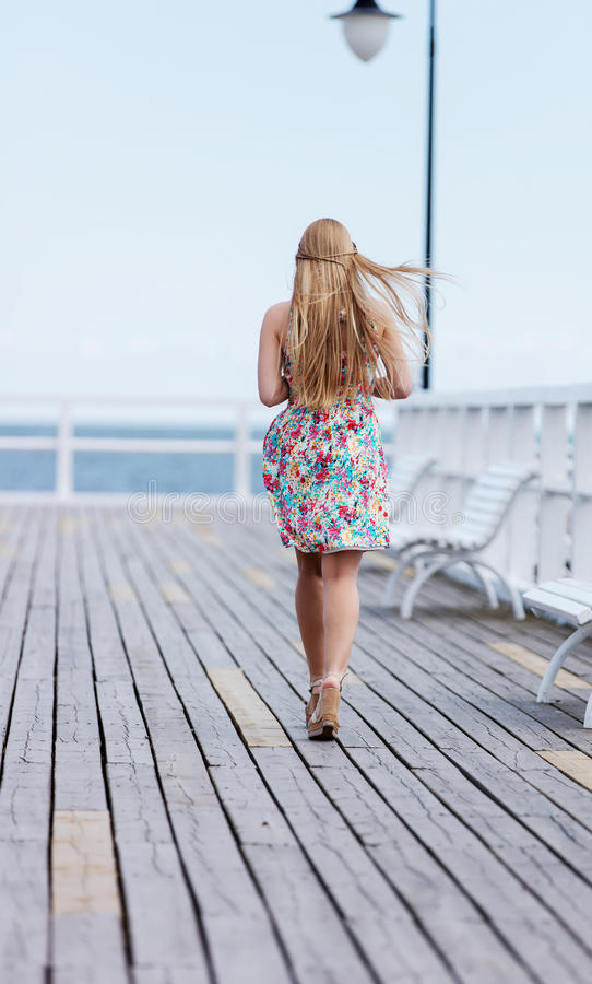 Back view of the young female with beautiful blond straight long hair royalty free stock photos