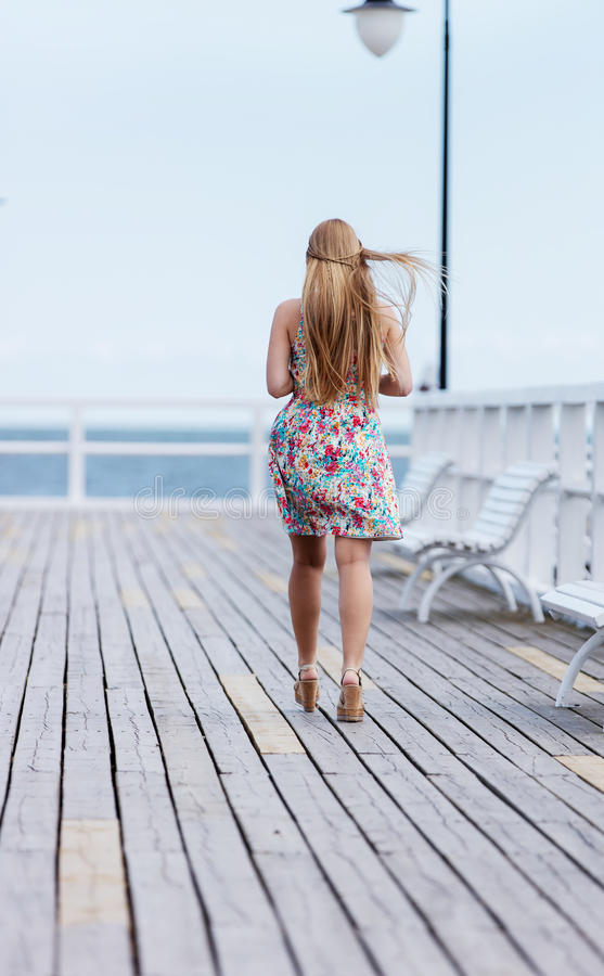 Back view of the young female with beautiful blond straight long hair royalty free stock photo
