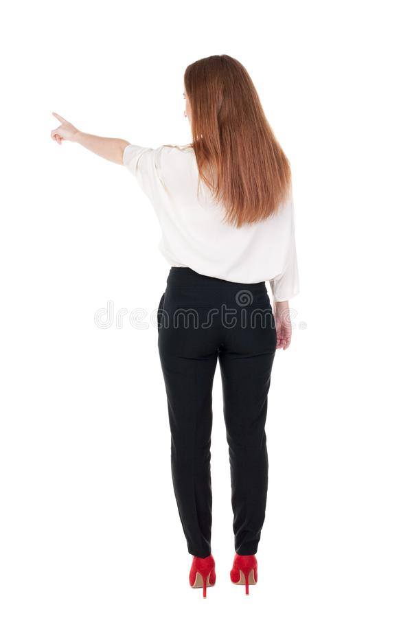 Download Back View Of Young Redhead Business Woman Pointing At Wal Stock Image - Image: 44469667