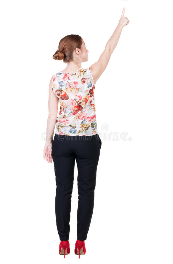 Download Back View Of Young Redhead Business Woman Pointing At Wal Stock Image - Image: 52184577