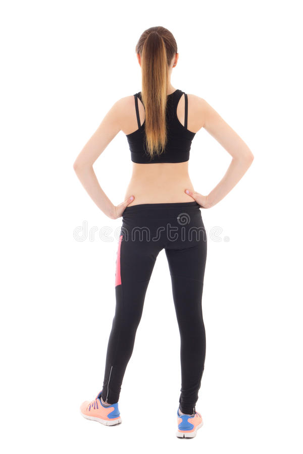 Back view of young woman in sports wear isolated on white royalty free stock image