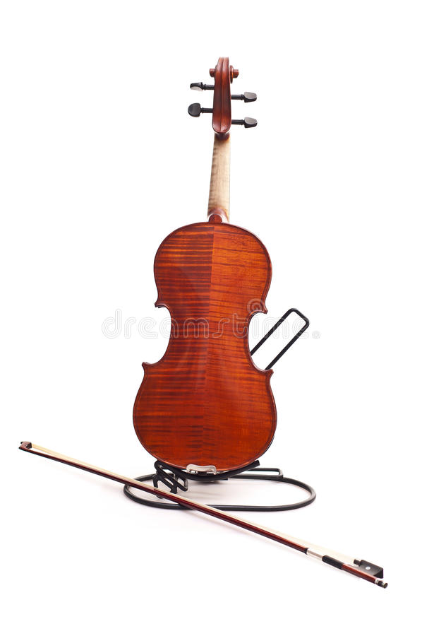Back of violin and fiddlestick. Isolated on white background stock photos