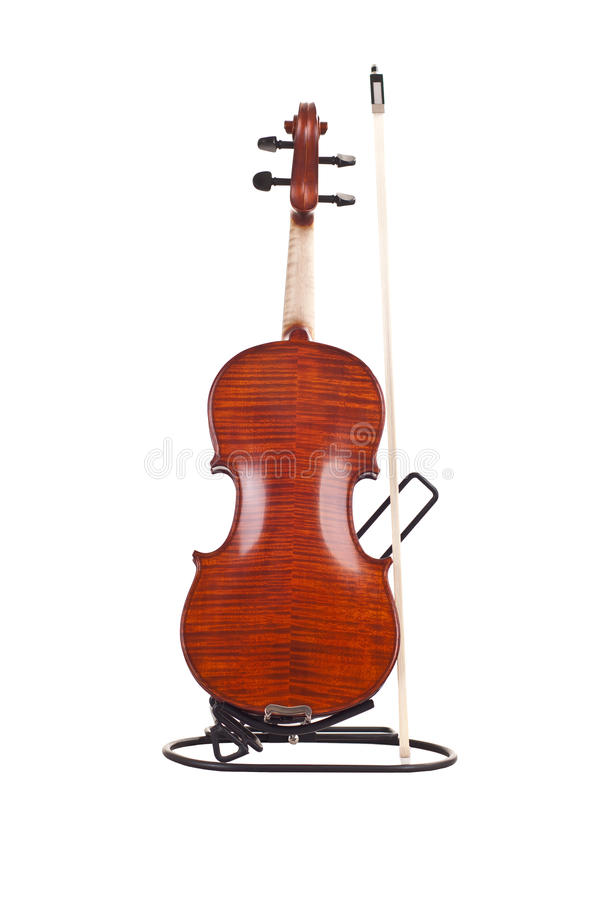 Back of violin and fiddlestick. Isolated on white background stock image