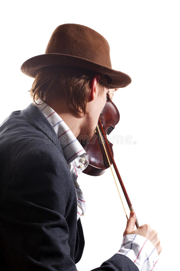 Back of violinist playing the violin in hat stock photos