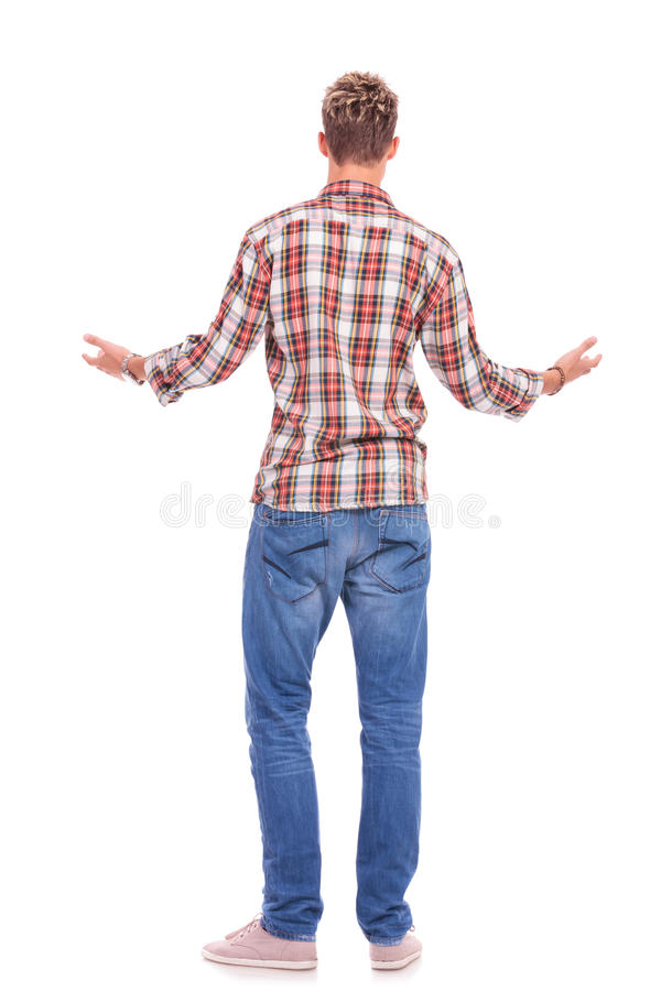 Download Back of welcoming man stock photo. Image of look, hand - 27446206